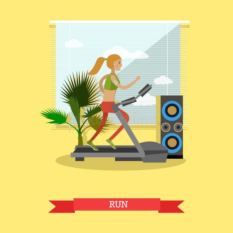 跑在一辆踏车的女孩在健身中心 健身房和健康生活方式概念导航在平的样式的海报 皇族释放例证