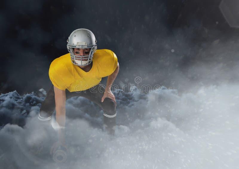 跑在与球的云彩的美国橄榄球运动员 免版税库存图片