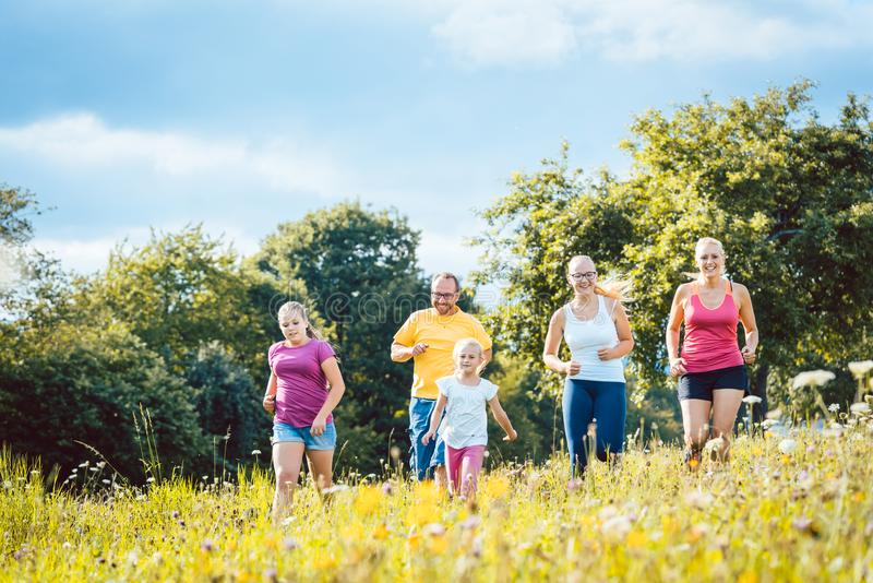 跑在体育的一个草甸的家庭 图库摄影