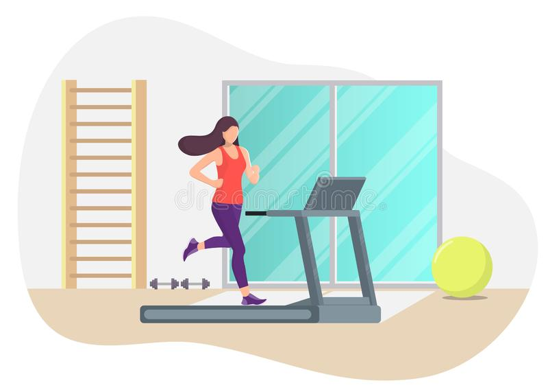 跑在健身房的一辆踏车的年轻美女 活动好处在哪里是竞争的挑战可能集中女孩目标图象刺激运行出售服务情形成功的人产品使用 在平的样式的传染媒介例证 库存例证