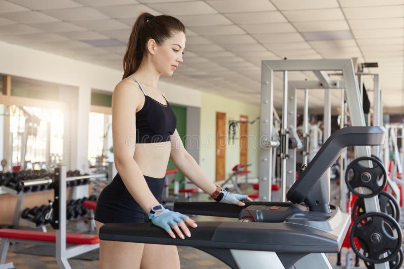 跑在健身房的踏车的俏丽的被集中的年轻体育妇女,保留适合,在连续机器的烧伤卡路里,佩带黑体育 免版税图库摄影