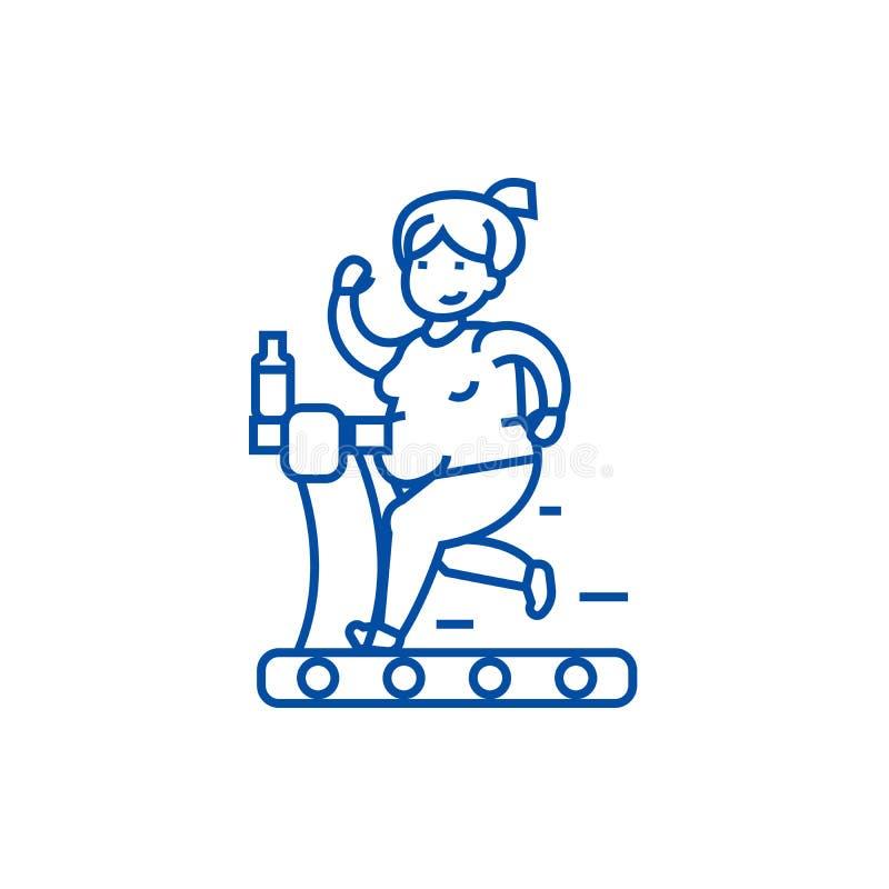 跑在健身房线象概念的肥胖妇女 跑在健身房平的传染媒介标志,标志,概述例证的肥胖妇女 向量例证