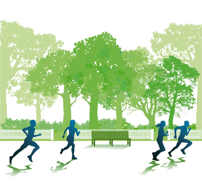跑在公园的人们 皇族释放例证