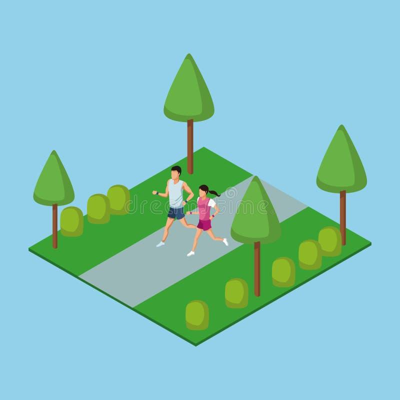 跑在公园3d的人们 库存例证