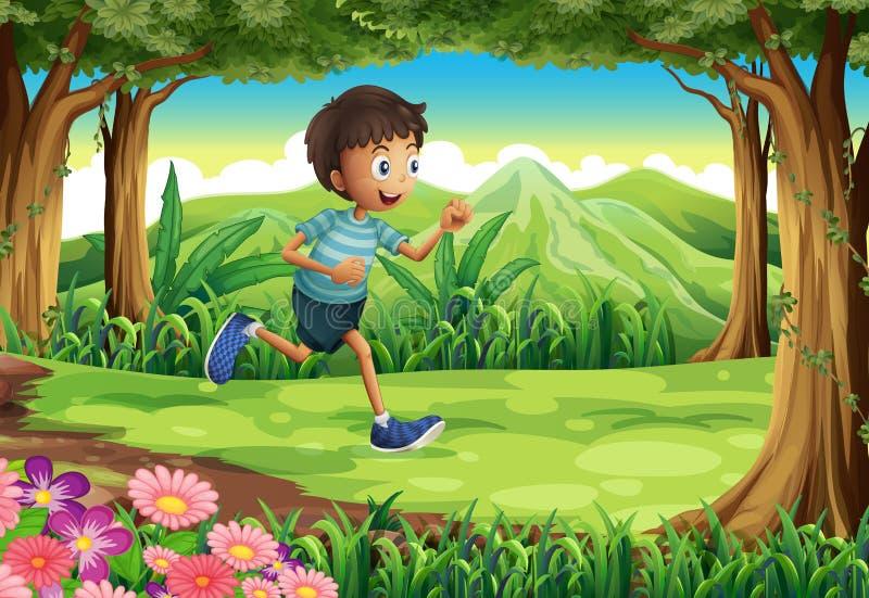 跑在密林的男孩 向量例证