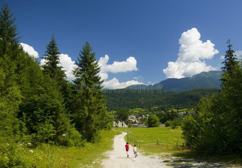 跑在山的两个孩子 免版税库存图片
