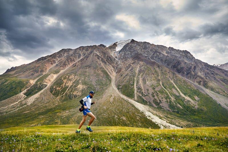 跑在山的足迹 图库摄影