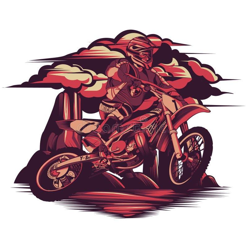 跑在岩石山的摩托车越野赛 向量例证