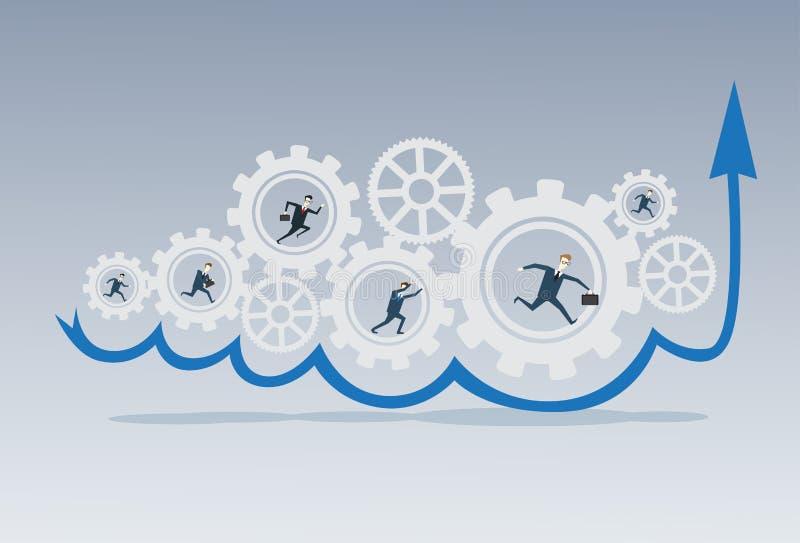 跑在嵌齿轮轮子工作的商人小组一起群策群力处理战略概念 皇族释放例证