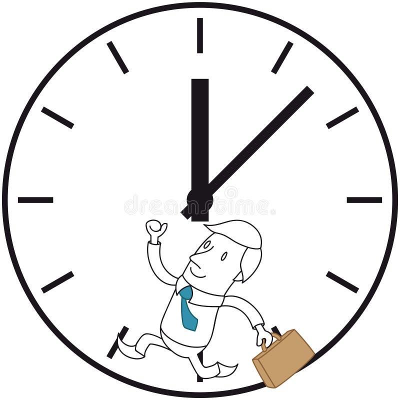 跑在巨大的时钟的商人 向量例证
