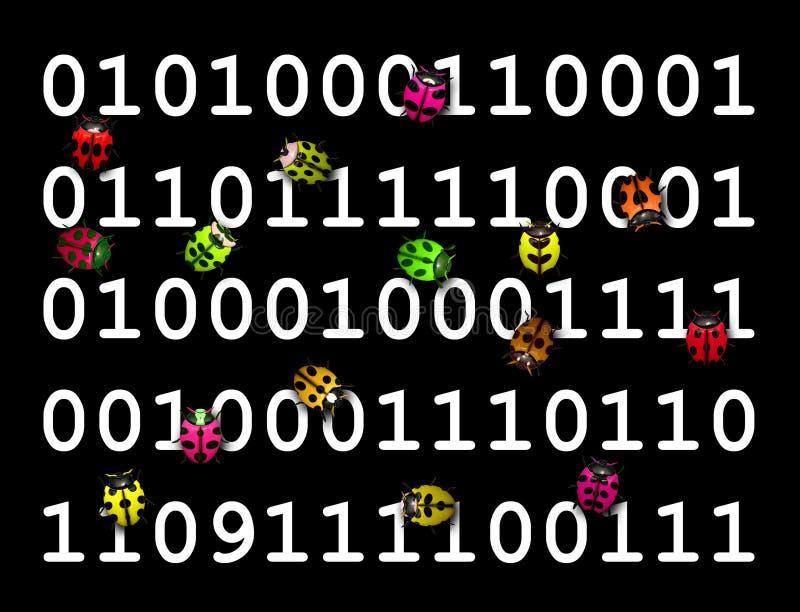 跑在数字式代码的五颜六色的臭虫 库存例证