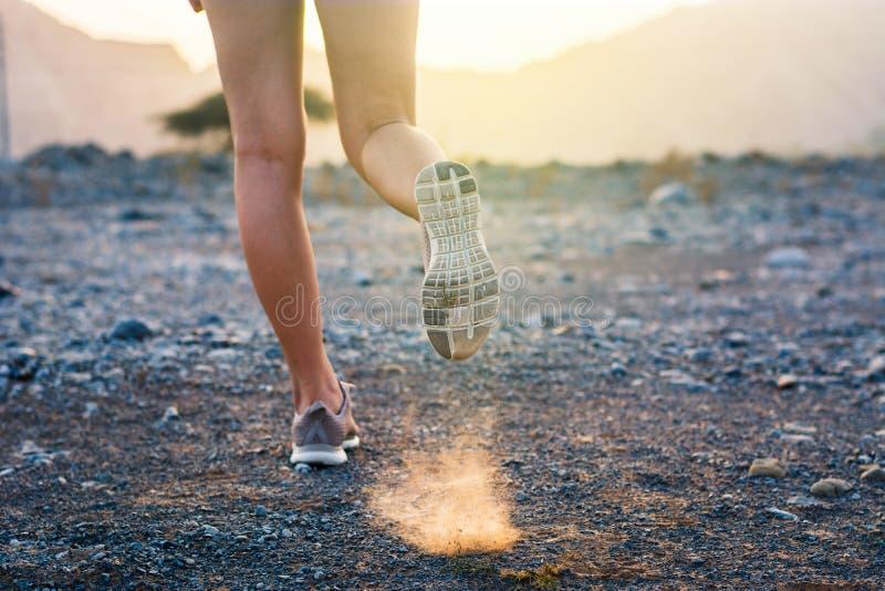 跑在沙漠低角度视图 免版税库存图片