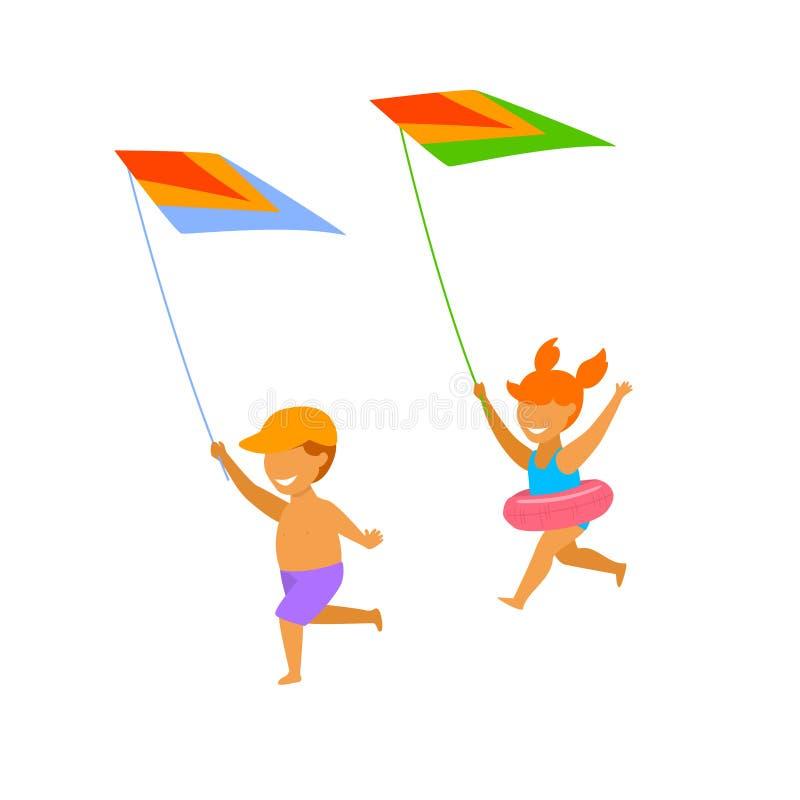 跑在海滩和飞行的风筝的孩子、男孩和女孩 皇族释放例证