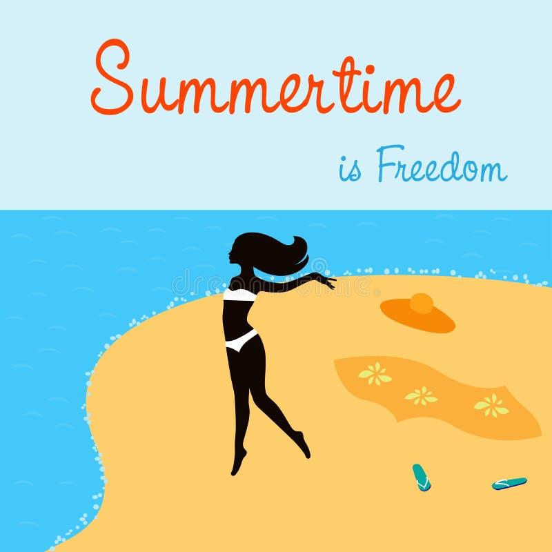 Download 跑在海滩的女孩的例证 向量例证. 插画 包括有 蓝色, 自由, 火箭筒, 爱好健美者, 背包, beauvoir - 72363787