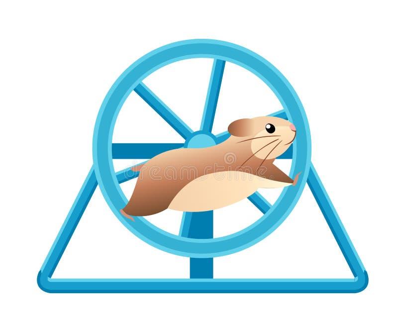 跑在滚动的轮子的逗人喜爱的仓鼠 家庭宠物 在白色背景隔绝的平的传染媒介例证 向量例证