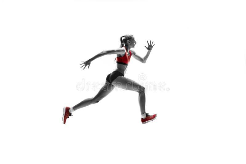 跑在白色背景的一名白种人妇女 免版税库存图片