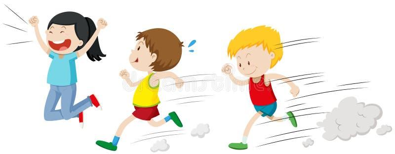 跑在种族的两个男孩 皇族释放例证