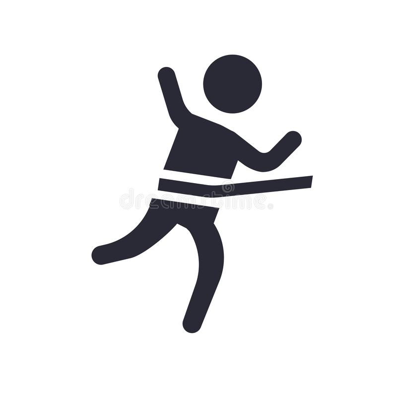 跑在终点线象在白色背景和标志隔绝的传染媒介标志,跑在终点线商标概念 皇族释放例证