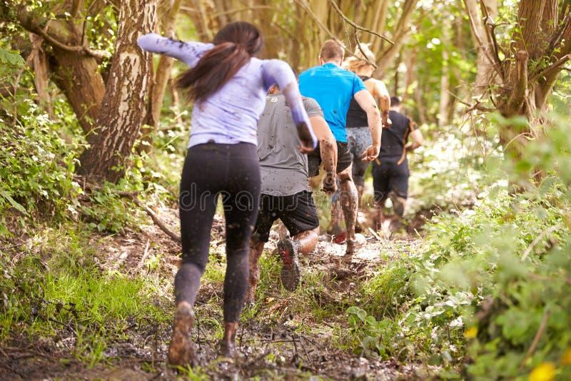 跑在耐力体育比赛,后面看法的竞争者 免版税库存图片