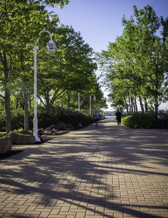 跑在联邦着陆公园的人们在夏洛特敦,爱得华王子岛,加拿大街市  免版税库存图片