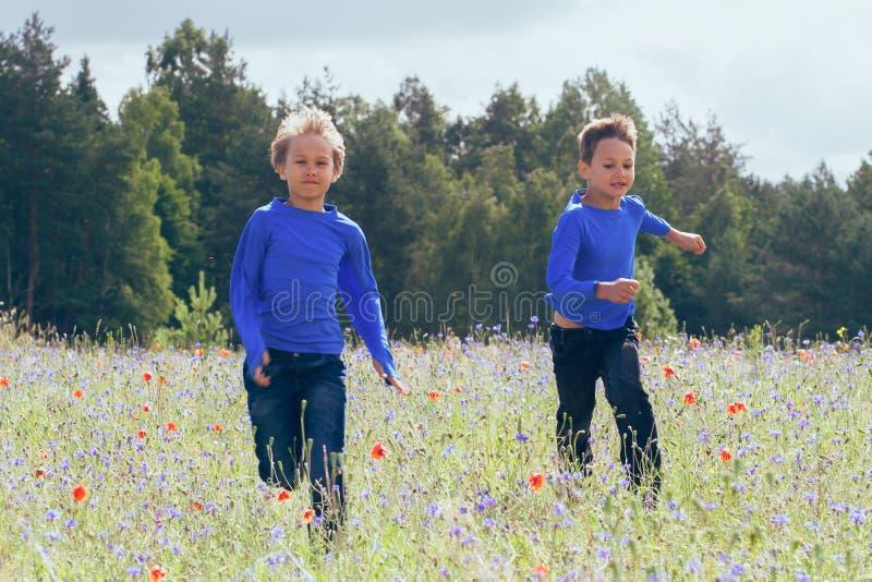 跑在草甸的愉快的孩子在晴天 免版税库存图片