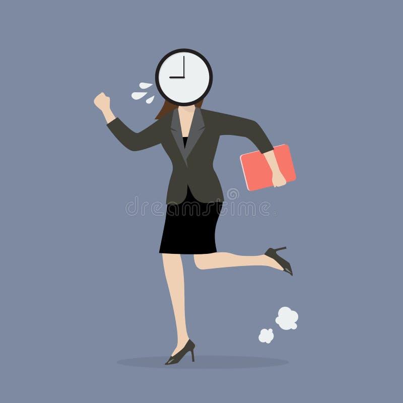 跑在衣服的时钟顶头女商人 向量例证
