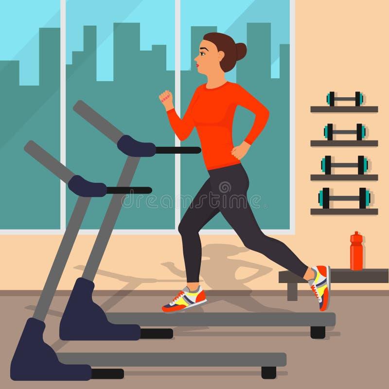 跑在踏车,在与大窗口的健身房和与大厦剪影的女孩在它后 健身房内部 妇女跑步 向量 向量例证