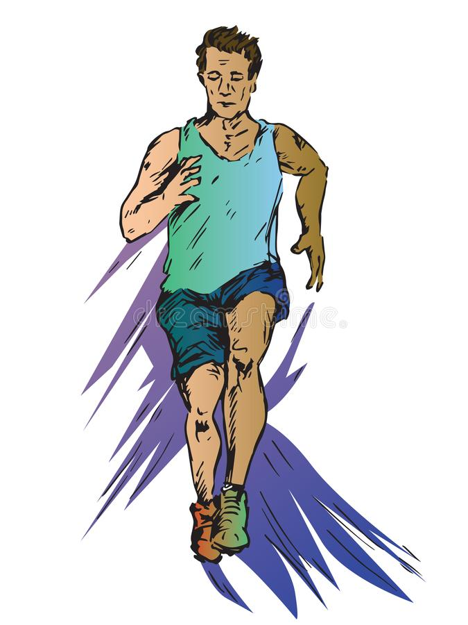 跑在运动服,手拉的乱画,在流行艺术样式的剪影的年轻人 向量例证