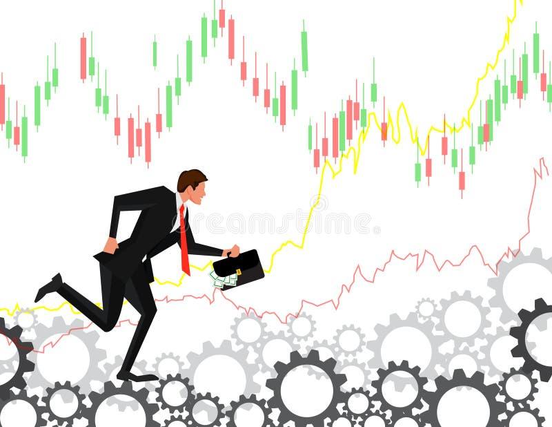 跑在齿轮的橛的商人 雇员在齿轮去并且转动他们企业概念例证 库存例证