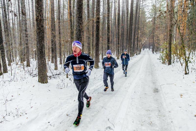 跑多雪的森林,雪的小组公赛跑者跌倒 免版税库存照片