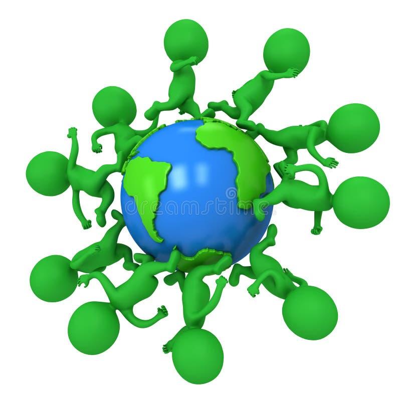 跑小绿色eco的人民环球 向量例证