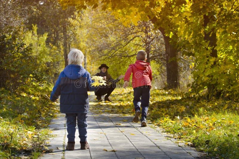 跑往她的母亲的男孩 秋天公园 回到视图 库存图片
