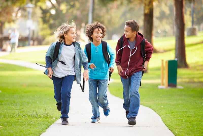 跑往照相机的小组年轻男孩在公园 免版税库存照片
