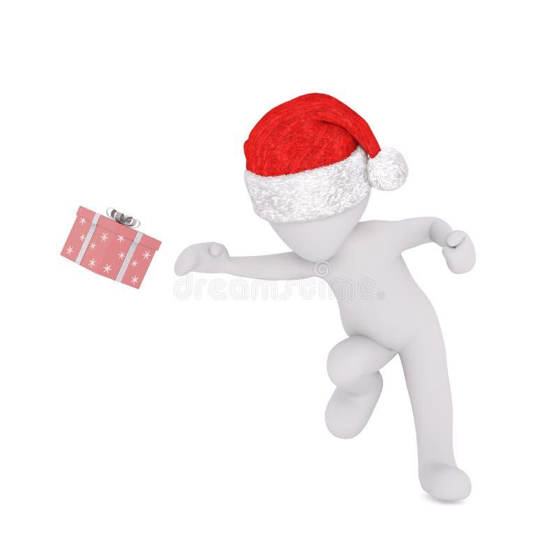 跑或飞跃在圣诞老人帽子的图 向量例证