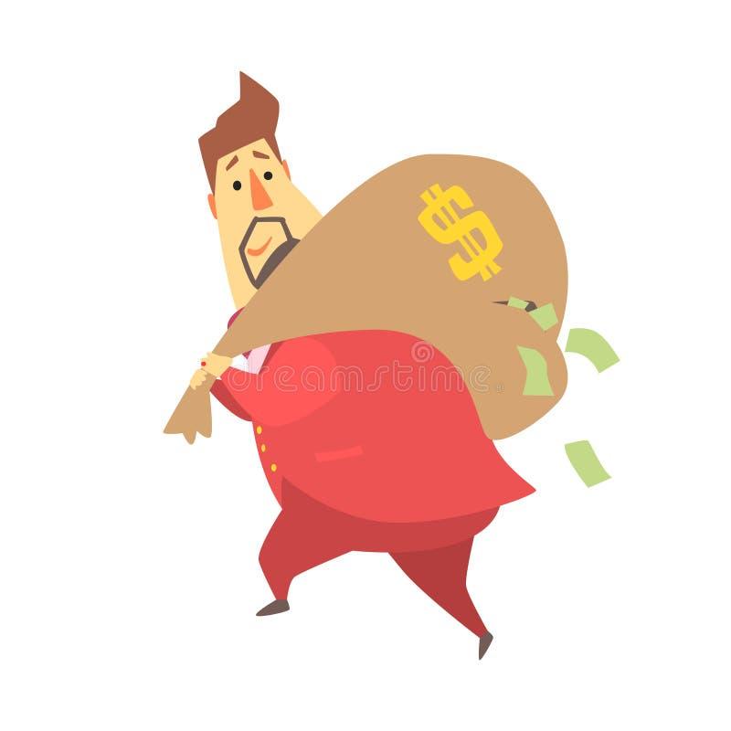 跑掉与大袋子的百万富翁富人金钱,落在孔,滑稽的漫画人物生活方式外面的票据 向量例证