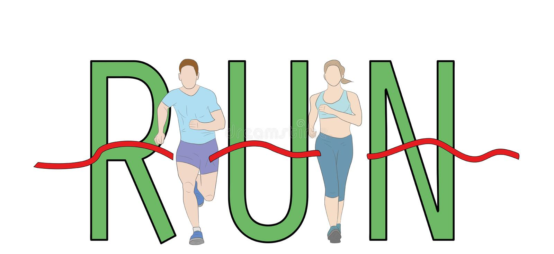 跑文本铅印设计、跑图表传染媒介的马拉松运动员、男人和妇女 皇族释放例证