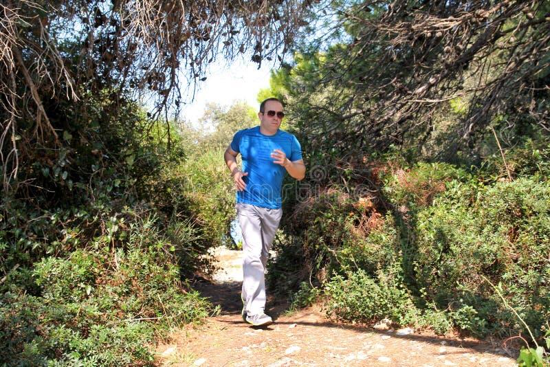 跑步为健身的适合的赛跑者人跑在美好的风景自然的跑的足迹户外 图库摄影