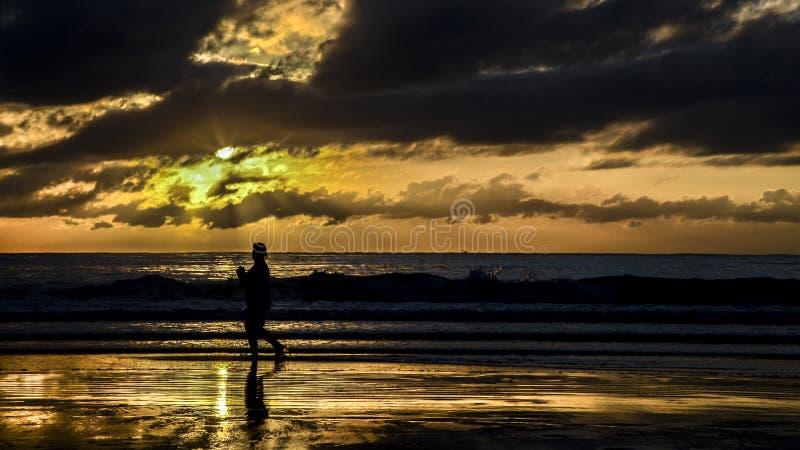 跑步和观看在坎博里乌海滩,巴西的妇女的剪影日出 库存照片