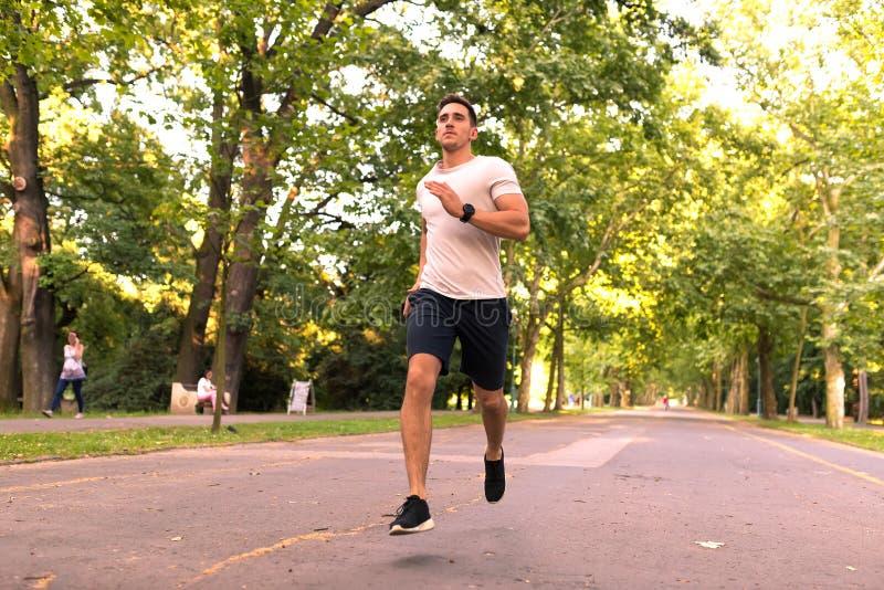 跑步在公园的一个英俊的年轻人 免版税库存照片