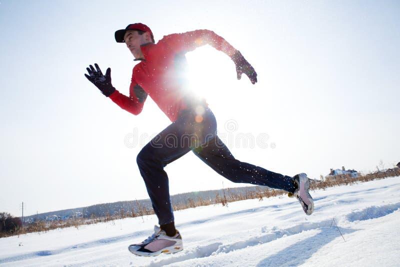 跑步在冬天 库存照片