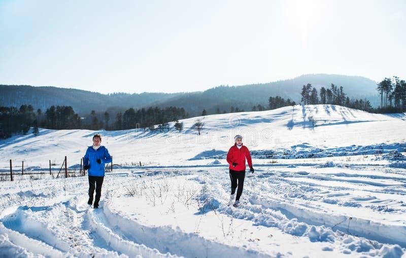 跑步在多雪的冬天自然的资深夫妇一张正面图  免版税库存图片