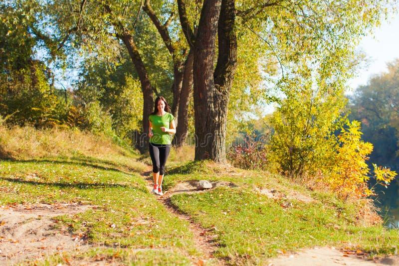 跑步在晴朗的秋天森林里的赛跑者妇女 免版税库存照片