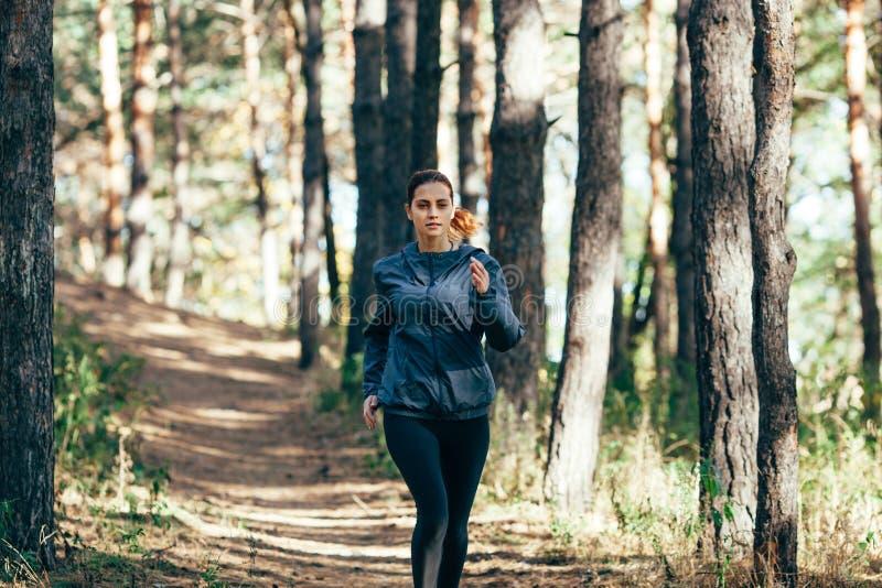 跑步在秋天公园的赛跑者妇女 库存照片