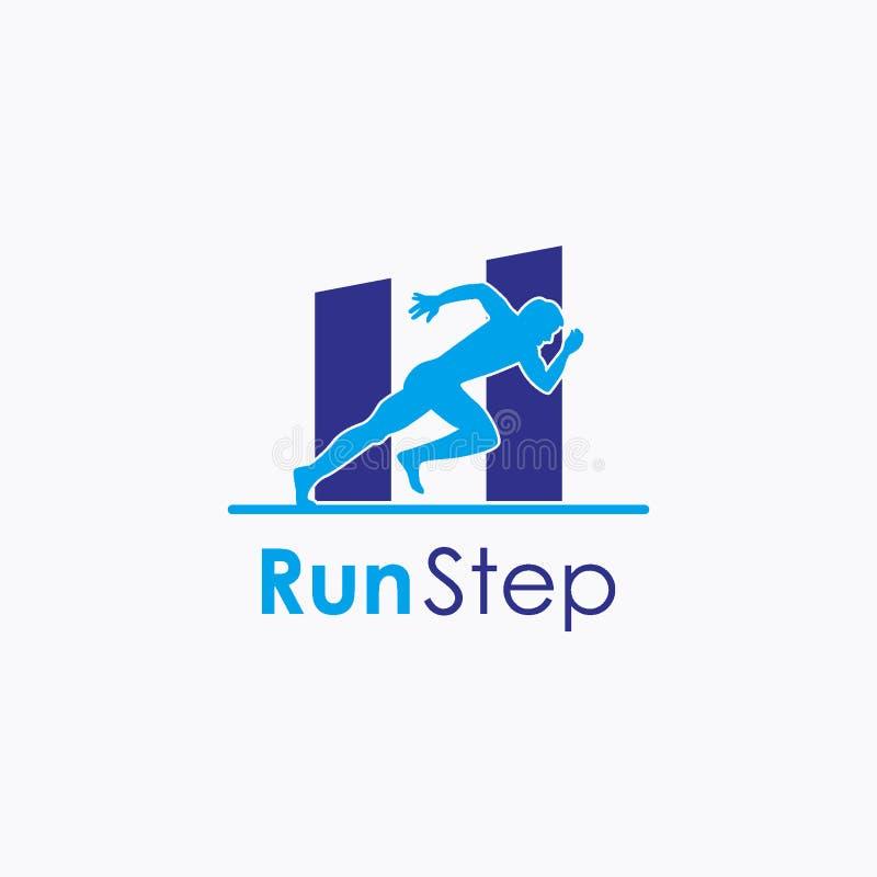 跑步或斋戒跑的商标设计观念,体育商标模板 向量例证
