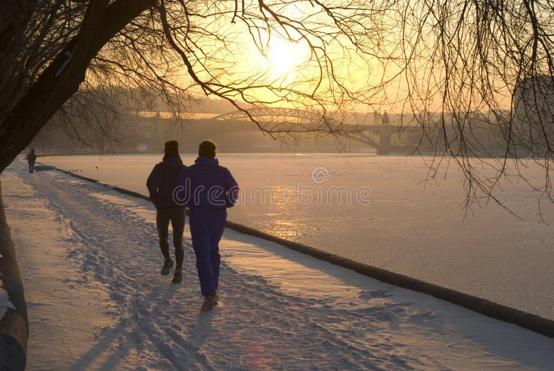 跑步的冬天 免版税库存图片