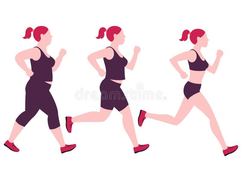跑步的减重妇女 在白色背景隔绝的超重肥胖夫人和健身亭亭玉立的女孩传染媒介 向量例证