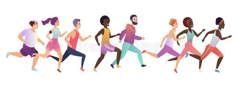 跑步的连续人民 体育连续小组概念 在行动速度的各种各样的人赛跑者小组 向量例证