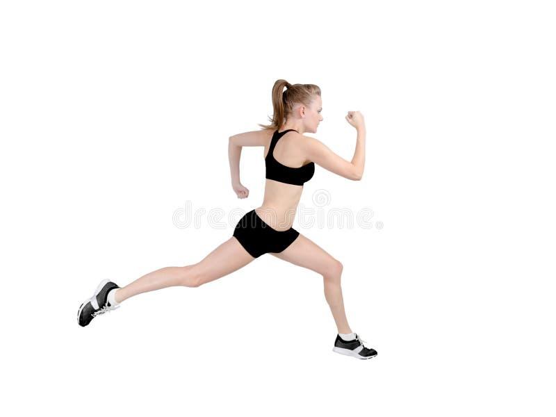 跑步的配置文件妇女 库存图片