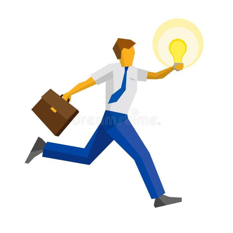 跑用被举的手的商人拿着灯 库存例证