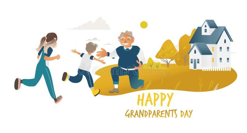 跑的孩子拥抱祖父站立在一个膝盖动画片样式 库存例证